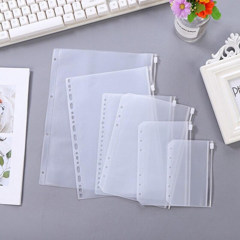 10 Uds., A4A5A6A7B5, cuaderno de hojas sueltas, colección de PVC, bolsas DIY, accesorio diario, bolsa de almacenamiento con cremallera para oficina