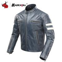 KERAKOLL Jacket Motorcycle Men Classical Retro Leather Moto Jacket Windproof Jaqueta Motociclista Removable Lining CE Protect