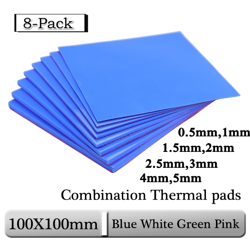 8pcs Gdstime 100x100x0.5mm 1mm 1.5mm 2mm 2.5mm 3mm 4mm 5mm Blue White Green Combination Thermal Pads Cooling Conductive Silicone