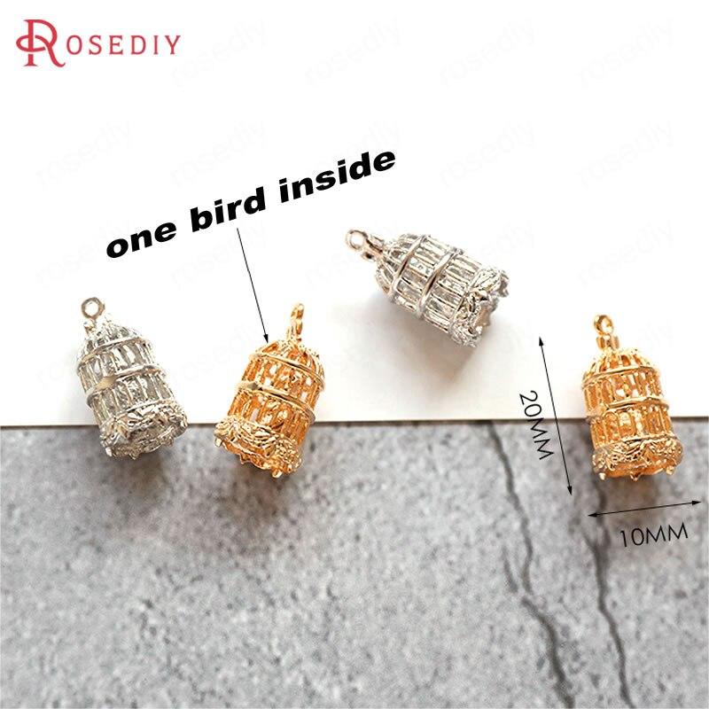 (F490) 6 piezas 20*10mm 24K chapado en oro jaula de pájaros colgantes Diy joyería pendientes accesorios al por mayor