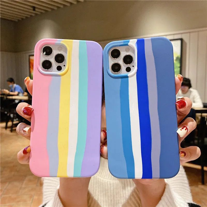 Original Quality Rainbow Stripe Gradient Color Soft Liquid Silicone Case For iPhone 12/11 Pro Max XR