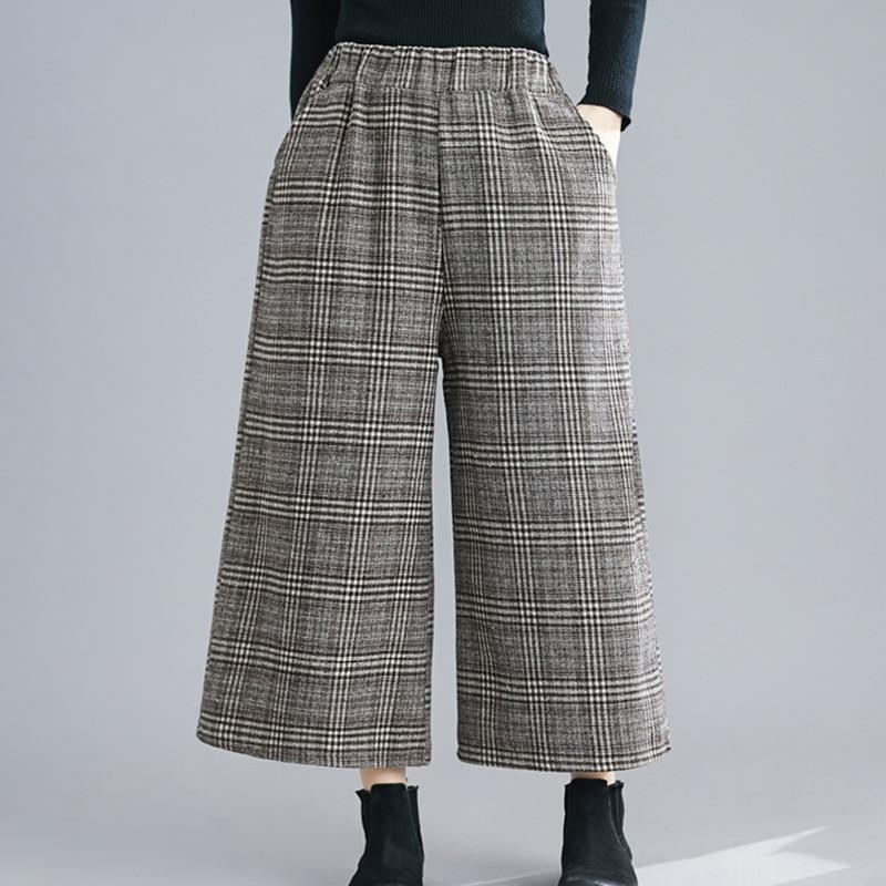 WOMENGAGA Korean Plaid Hit Color Trouser For Women Midi Waist Pocket Oversize Loose Wide Leg Pant Female 2020 Fashion New XX131