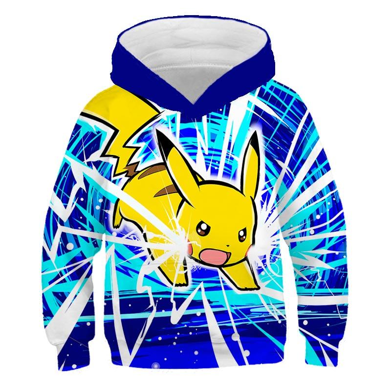 2020 3D Pikachu sudaderas con capucha de Pokemon divertido Kawaii Detectiv pikachu niños sudadera dibujos animados Japón coreano Harajuku Anime abrigo tops