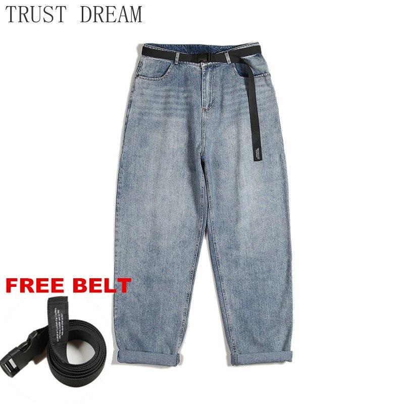 Новинка 2021, мужские шаровары, джинсовые штаны, винтажные свободные однотонные мужские прямые повседневные джинсы, уличная одежда в стиле хи...