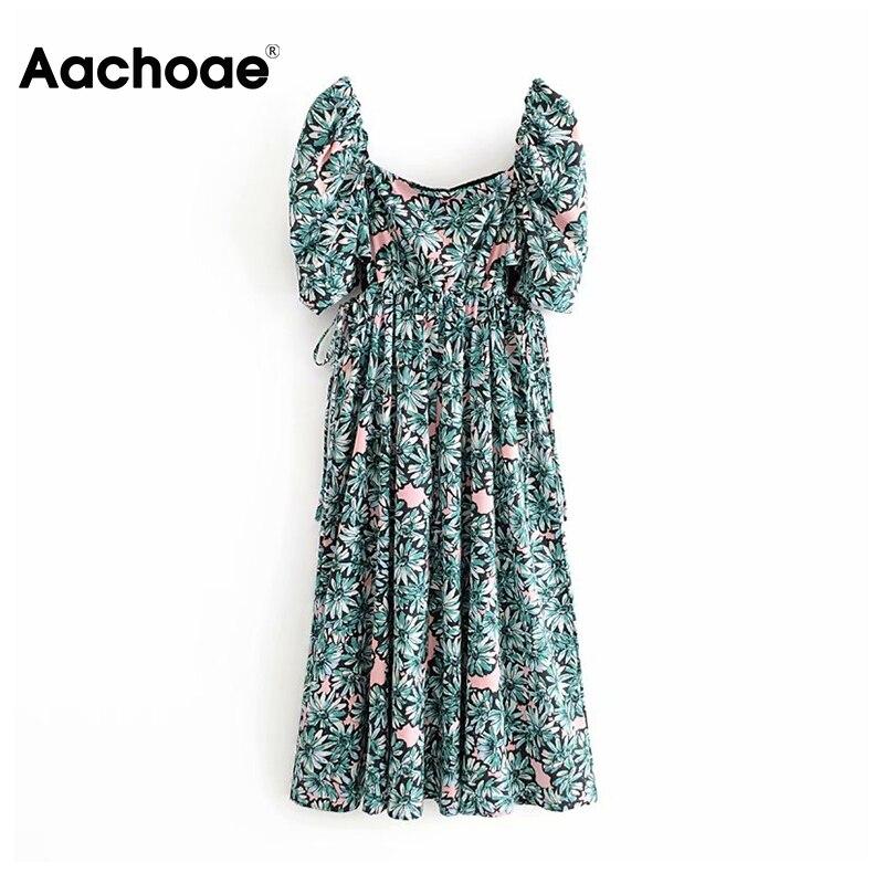 Aachoae Boho Floral Dress Women Summer Puff Short Sleeve Long Midi Dress Female Bow Hollow Out Beach Dresses Ladies Robe Femme