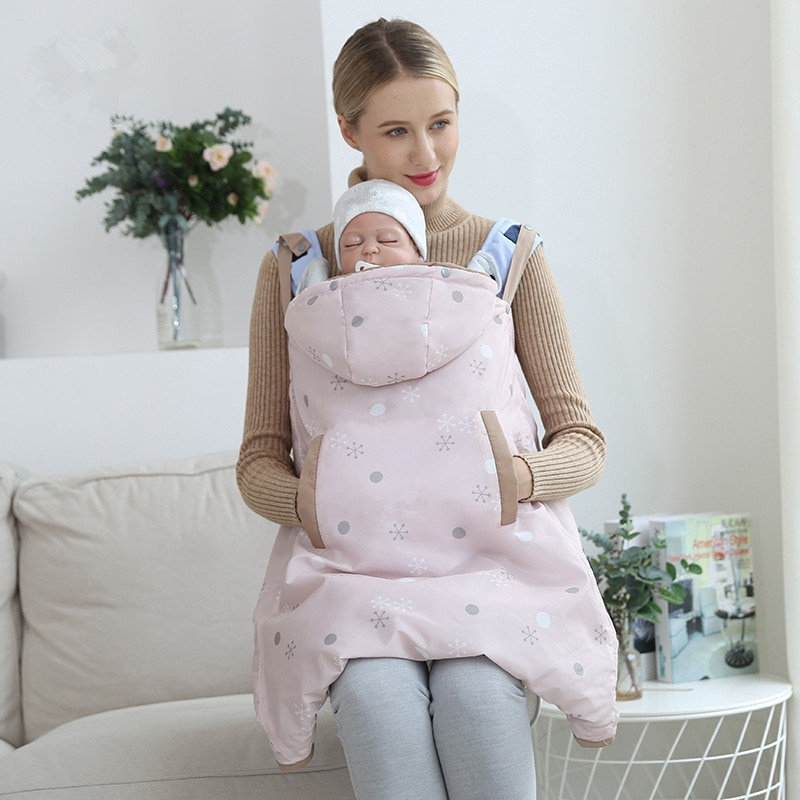 canguru Inverno estilingue bebê portador capa ao ar livre engrossar alongar capa à prova de vento à prova dwindproof água com capuz bebê saco de dormir swaddle