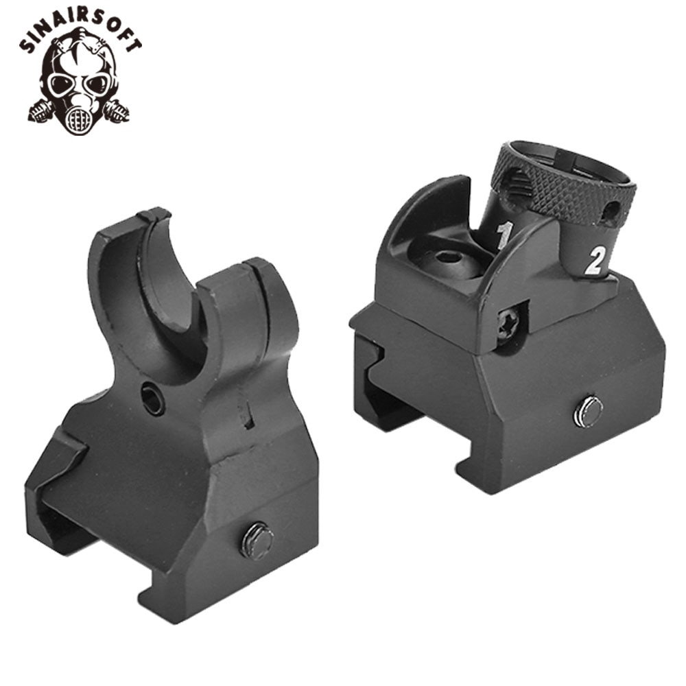 416 Style Picatinny Iron Sights Set Front And Rear Hk Diopter Paintball Target Shooting Hunting Airsoft Military Accessoeirs