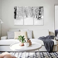 scandinavian winter landscape canvas painting snow forest nordic poster print wall art picture modern living room decor