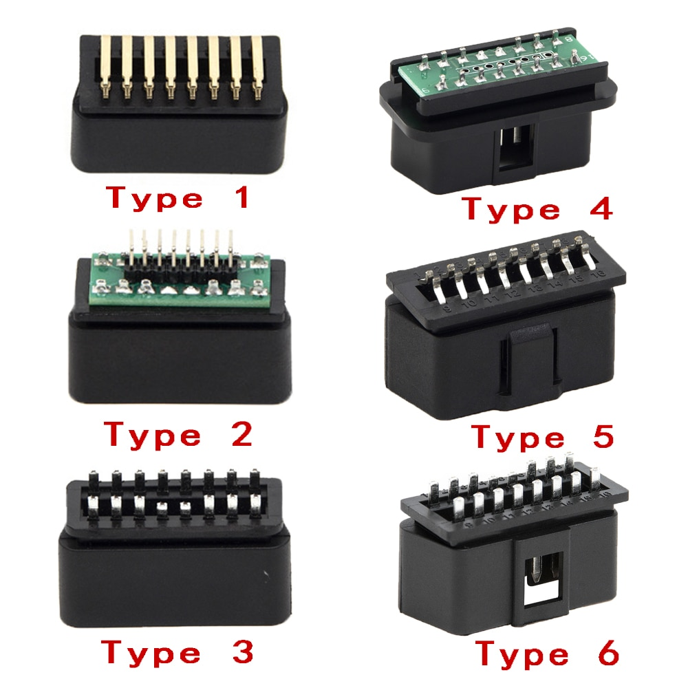 New 6 Types 16 PIN OBD2 Male Car/Trucks  Connector Plug OBDII J1962 Connector Plug Wiring for Diagnostic Tool DIY Shell
