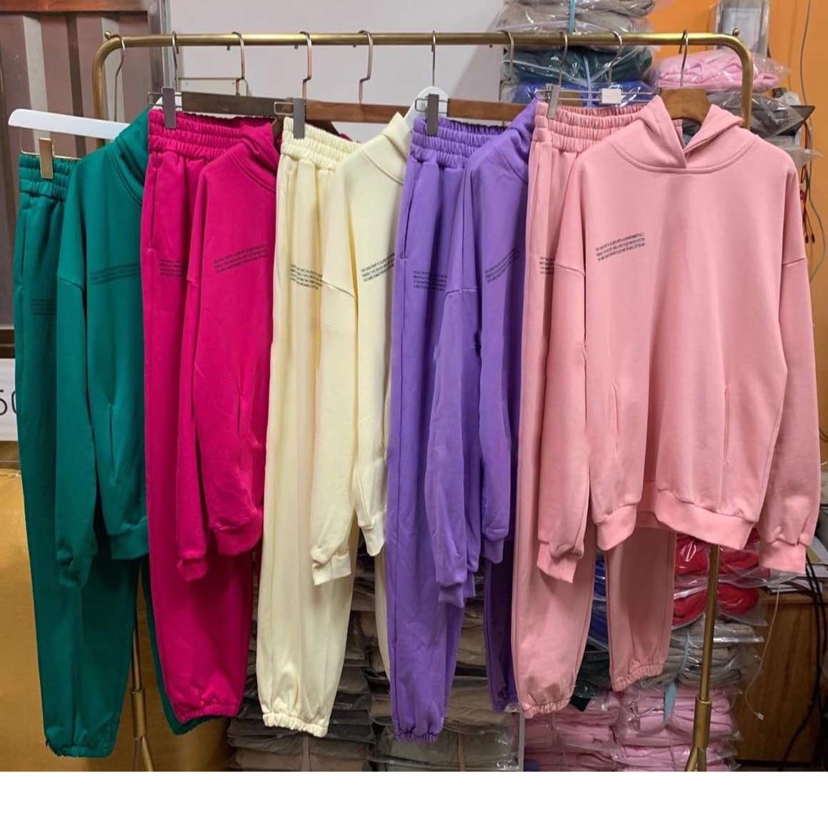 Sólido com capuz moletom hoodies faixa longa calça feminina e masculina grosso conjuntos de duas peças