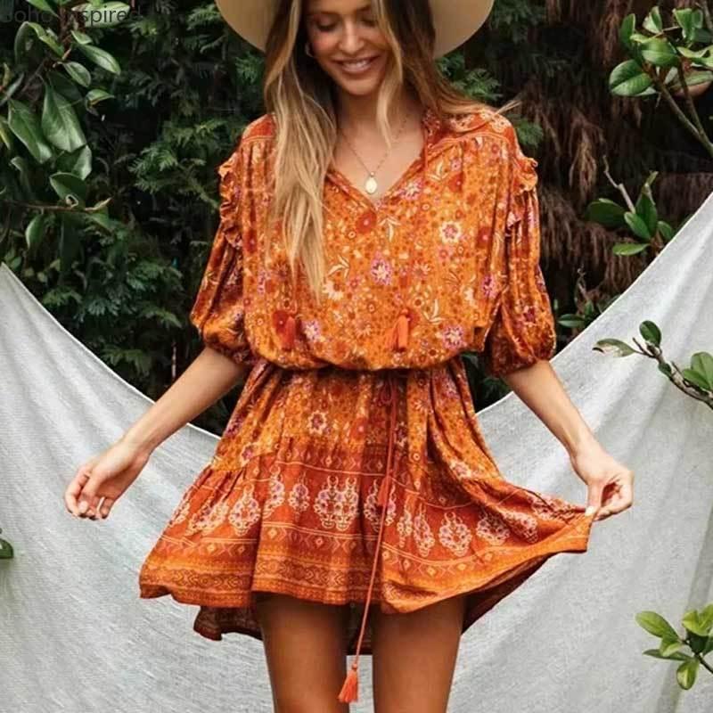 De inspiración Bohemia naranja multi impresión boho vestido rayón cuello pico tassle cinturón verano vestido chic vestido para mujer en tallas grandes vestidos nuevo 2020