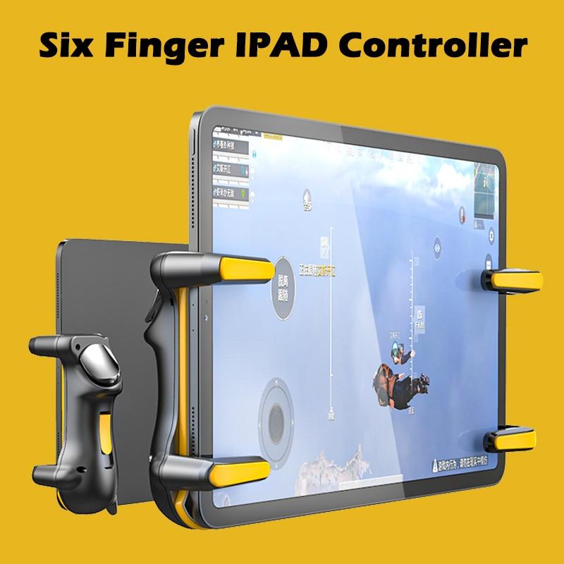 وحدة تحكم ستة أصابع لجهاز Ipad PUBG ، سعة قابلة للتعديل ، مشغل ألعاب محمول ، زر L1R1 ، عصا تحكم ، ملحقات الكمبيوتر اللوحي