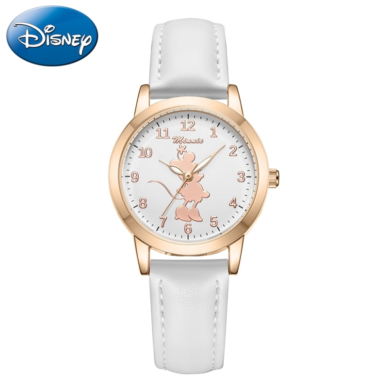 2021 Girl Minnie Mouse White Happy Lady Youth Time Kids Watches Child Female Young Women Watch Junior Clock Student Sport Hour