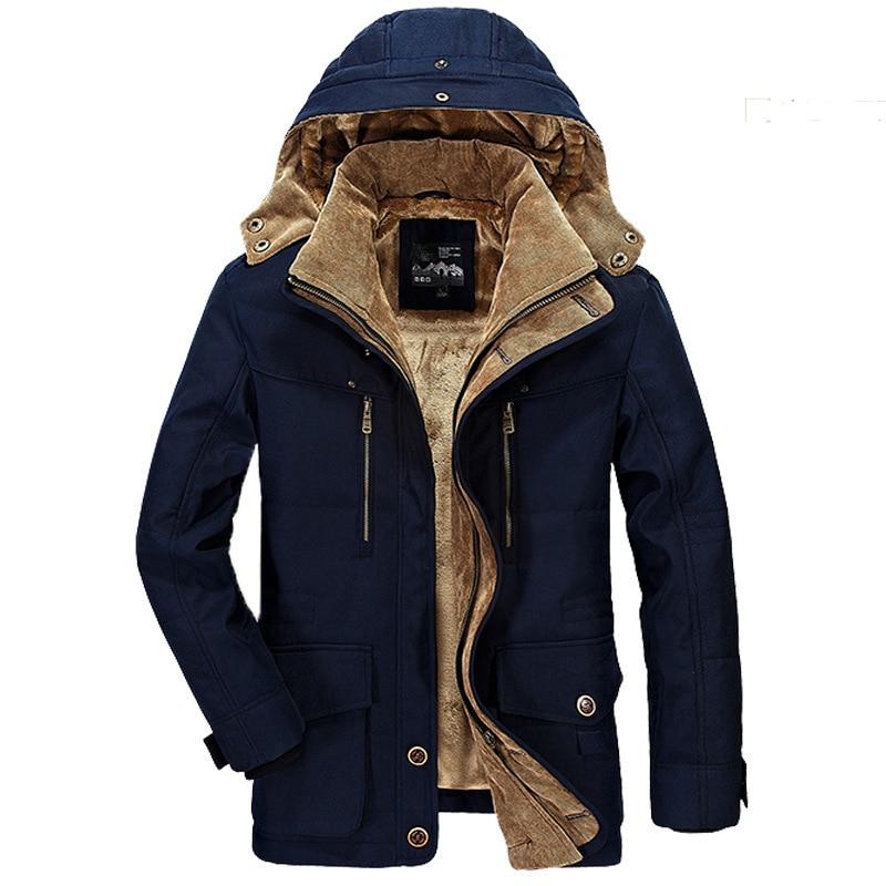Men Winter Hooded Thick Fleece Parkas Jacket Hat Detachable Coat Mens Outdoor Military Casual Pockets loose Parka Jacket Men 6XL