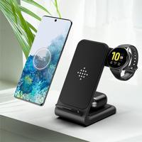 Беспроводное зарядное устройство 3 в 1, док-станция 15 Вт, быстрая зарядка для Samsung Note 20 10 9 8 S21 S20 S10 S9 Galaxy Watch 3 S5 S4 S3 S2 Buds