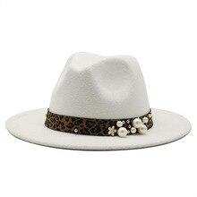 British Classic Autumn Winter Fashion Leopard-print Pearl Woolen Cap Men's Women's Jazz Hat All-matc