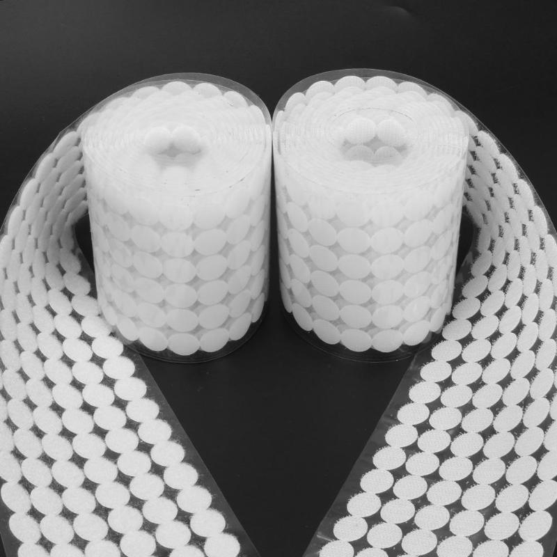 1000 пар Двухсторонняя клейкая застежка ленты Крючки Петли, диски белые нейлоновые наклейки Сильные самоклеющиеся диски точечная занавеска