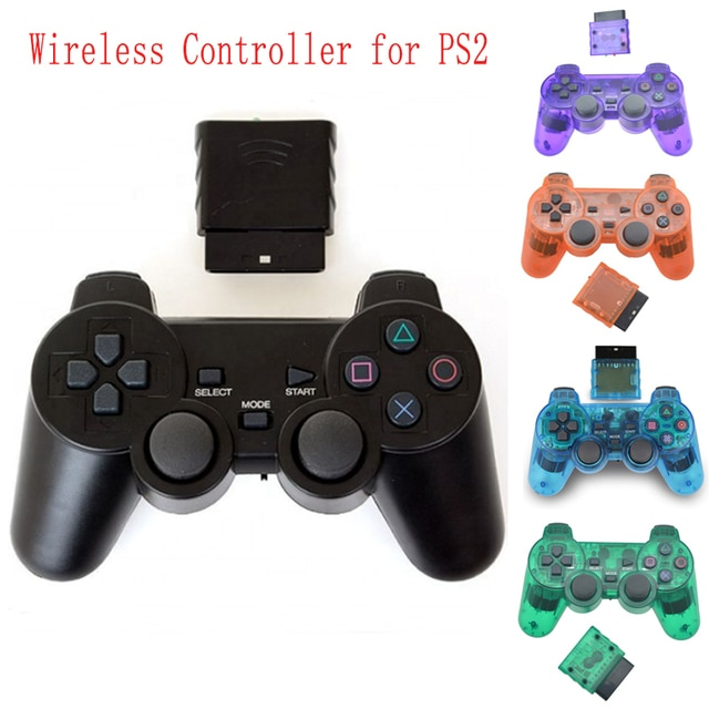 New For SONY PS2 Wireless Controller Bluetooth Gamepad For PlayStation2 Joystick Console For Dualshock2 Transparent Gamepad