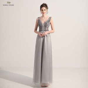 Evening Dress  V-Neck  A-Line  Evening Dresses Long  Floor-Length  Tulle  Dresses Woman Party Night