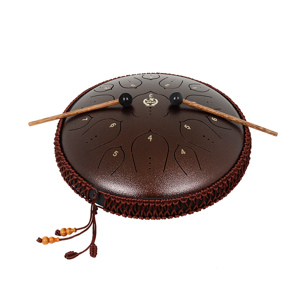 M MBAT Steel Tongue Drum 13 Inch 15 Tone Hand Pan Drum Tank Ethereal Drums Percussion Instrument Beginner Yoga Meditation Gift enlarge