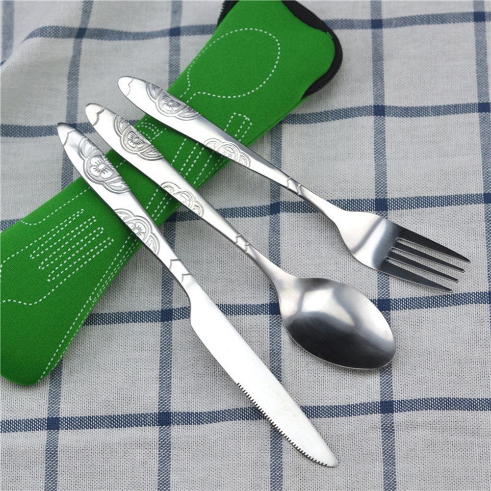 3 pçs de aço inoxidável ocidental conjunto talheres comida ao ar livre piquenique louça portátil bife faca garfo colher conjuntos com saco pano