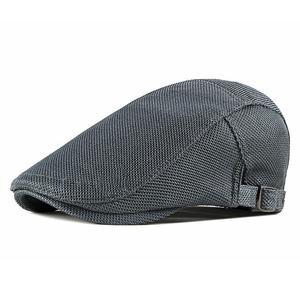 2021 Cotton four seasons solid mesh Newsboy Caps Flat Peaked Cap Men and Women Painter Beret Hats 23