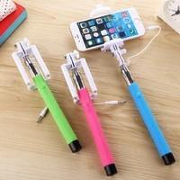 universal selfie stick mini extendable handheld rotatable wired automatic selfie stick folding portable plug play phone clip