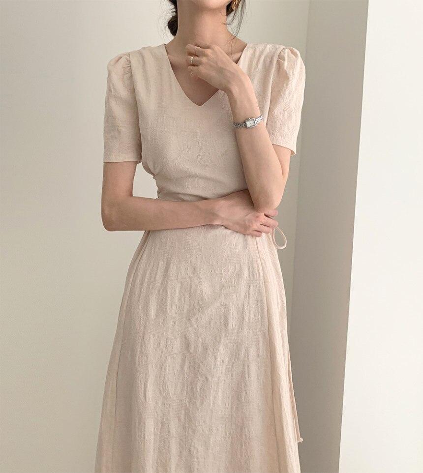 Bufiaste rękawy V-neck Lace Up sukienka damska płaszcza stałe kostki sukienki damskie 2020 lato nowy koreański Vintage odzież damska