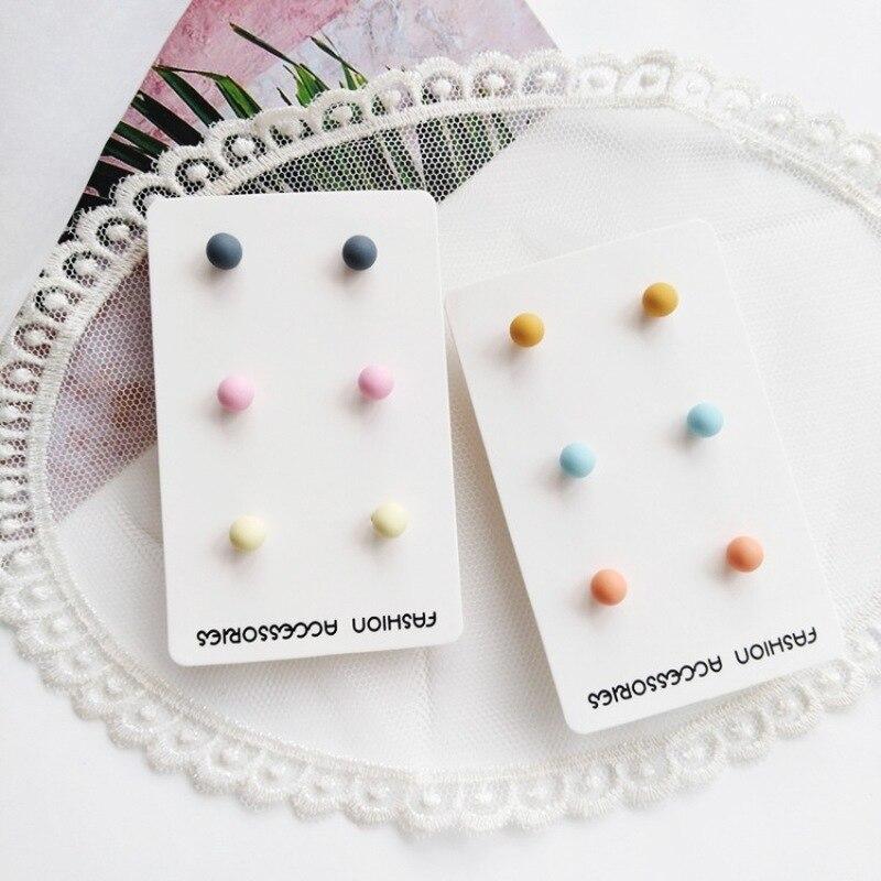 3 pares de pendientes pequeños japoneses y coreanos con cuentas simples y coloridas para chicas con personalidad a la moda, accesorios de joyería para mujeres