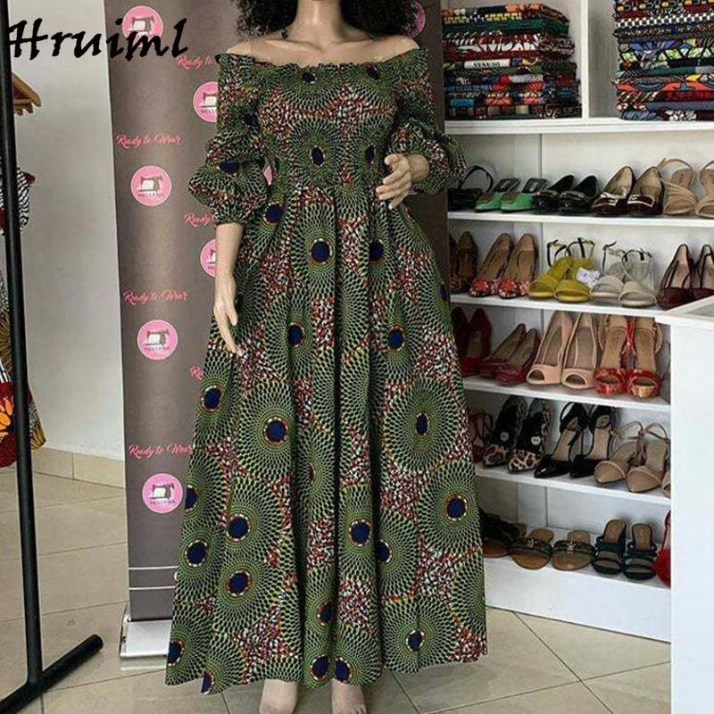 فساتين الأفريقية للنساء موضة الأزهار طباعة مائل الرقبة ثلاثة أرباع كم فستان ماكسي عالية الخصر خمر فستان طويل الخريف