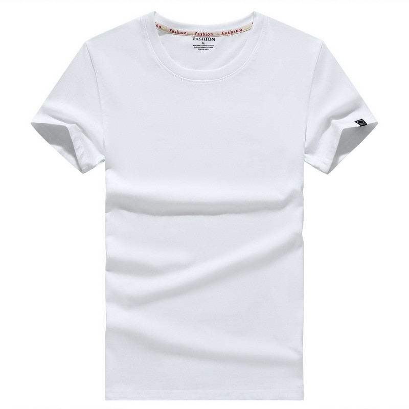 2021 summer new high-quality men's T-shirt casual fashion solid color short-sleeved round neck cotton T-shirt