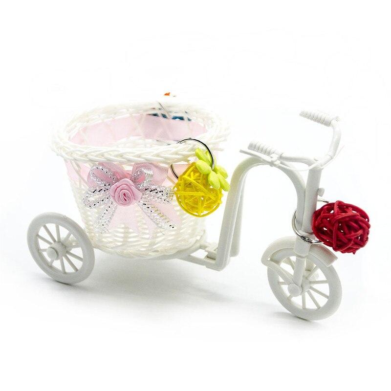 Cesta de la compra de mimbre para Mini bicicleta, carrito de la compra con pájaro mascota, loro, hámster, juguete decorativo
