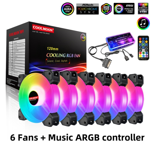 Computer Case 120mm Fan RGB 6PIN Colorful Lamp Radiator Cooler Mute PC 5V DC ARGB Ventilador Chassis Fans Aura Sync coolmoon 120mm pc computer case fan cooling cooler 6pin adjustable rgb mute ventilador rgb case fans adjust speed
