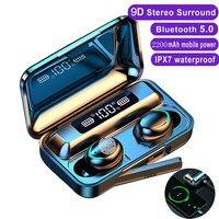 TWS Bluetooth наушники 2200 мА/ч, беспроводные наушники Fone 9D, водонепроницаемые спортивные стереонаушники, гарнитура с микрофоном и зарядным боксом