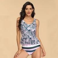 two piece swimsuit swim skirt swimwear plus size print bathing suit brazilian women swimming wear push up vintage monokini