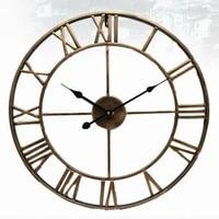 4047cm nordic metal roman numeral wall clocks retro iron round face black gold large outdoor garden clock home decoration