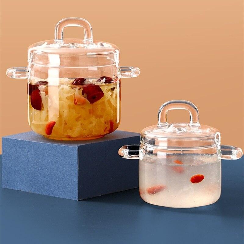 وعاء يخنة زجاجي صغير مقاوم للماء ، غطاء شفاف ، كوب حساء ، وعاء عش الطيور ، لهب مفتوح ، لوازم المطبخ المنزلية