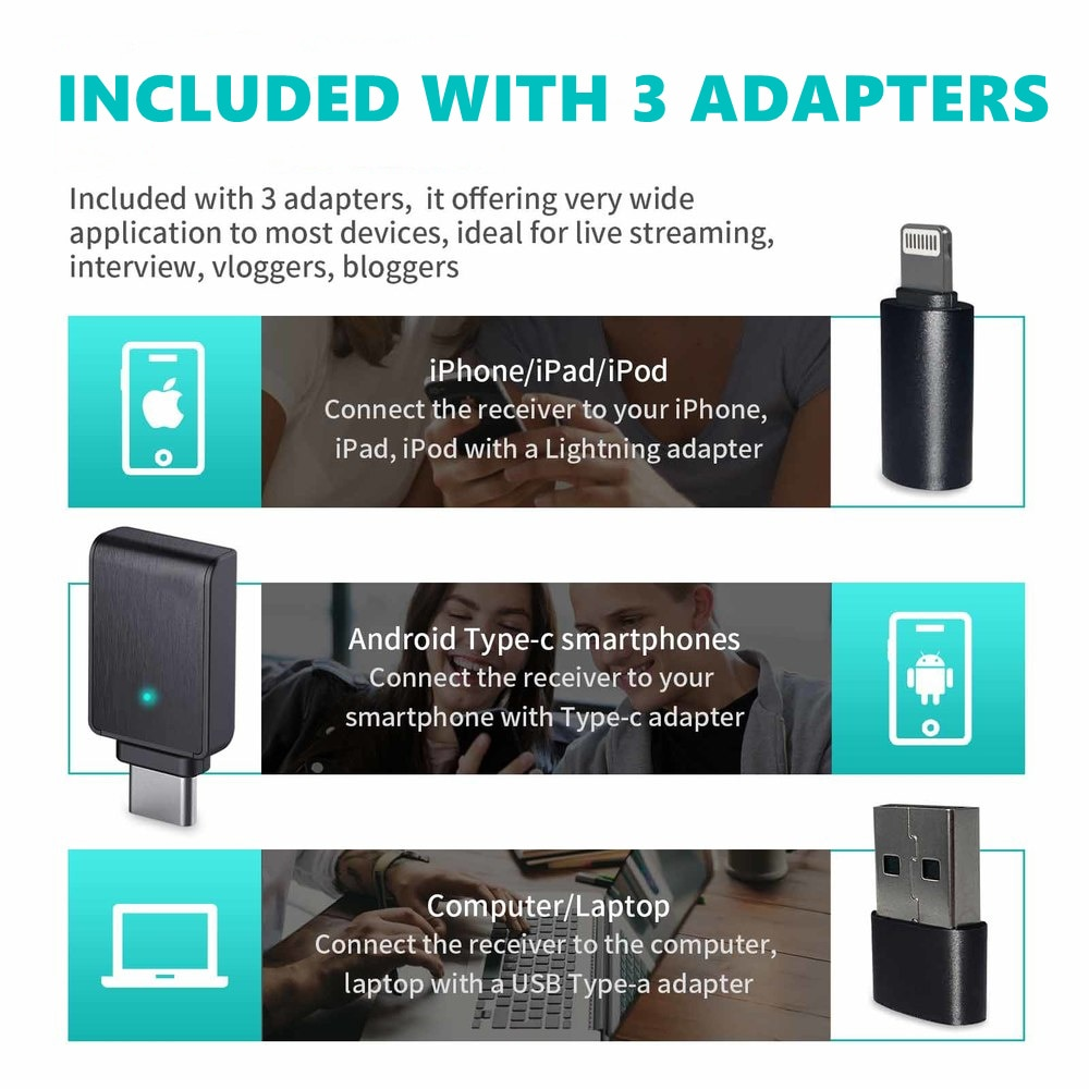 Mini Wireless collar microphone with charging box, micro USB, suitable for iPhone, Android, laptop, youtube, Facebook, live enlarge
