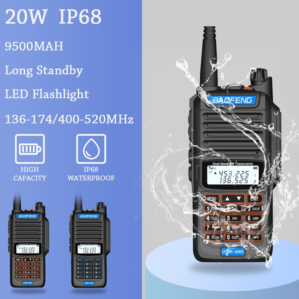 2021 BaoFeng UV-9R AMG Powerful Walkie Talkie CB Radio Transceiver 20W 20km Long Range Up Of UV-5R Portable Radio Hunt City New