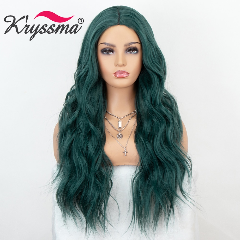 Kryssma For Women Mint Green Cosplay Wigs Green Wig Long Wavy Synthetic Wigs Body Wavy Wigs For Party Full Machine Made Hair Wig