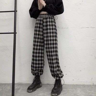 Black and White Plaid Pants Female Loose Tappered Spring and Autumn New