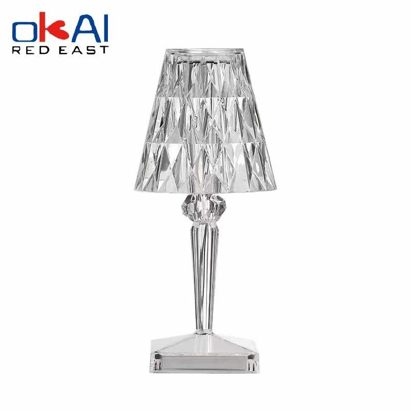 Фото - Brand new Italian design acrylic Kartell table lamp rechargeable crystal art deco LED night light bedroom touch light italian interior design