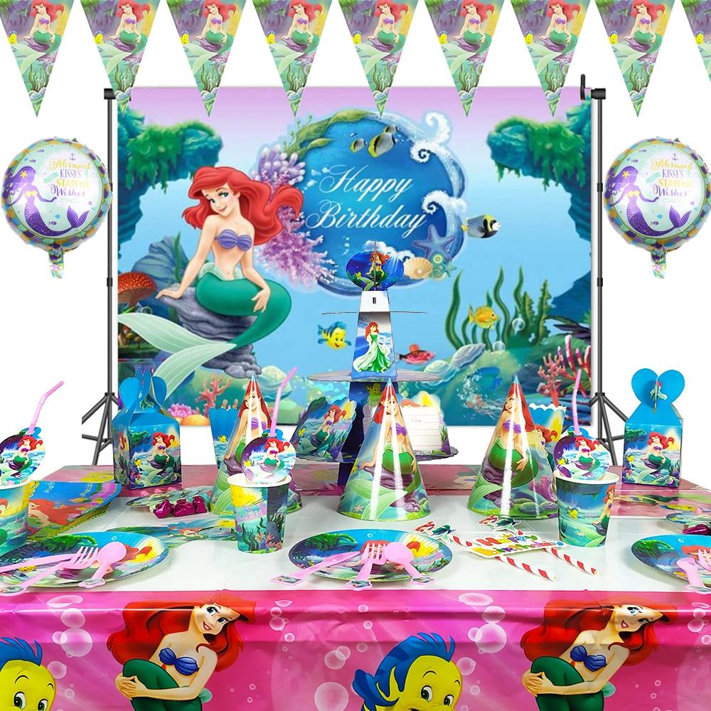 м мадера долина эдельвейсов и день рождения принцессы Наряды маленькой Русалочки, праздничные платья принцессы, тема детский день рождения вечерние поставки скатерть бумажный стаканчик торт ф...