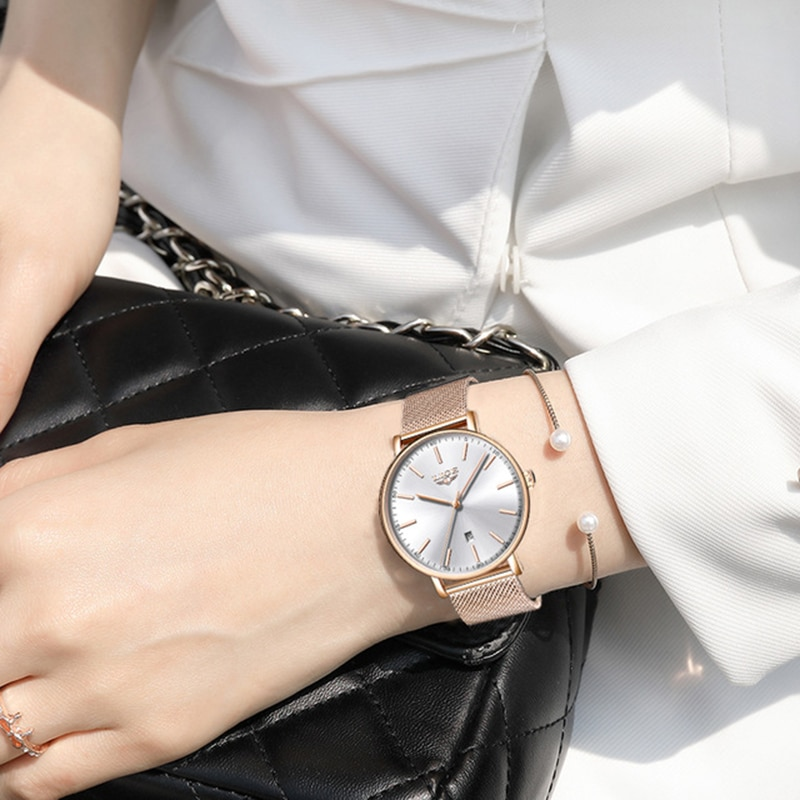 LIGE  Ultra-Thin Casual Wristwatch Stainless Steel  Quartz ClockTop Brand Luxury Waterproof Watch  Womens Watches  Fashion Ladie enlarge