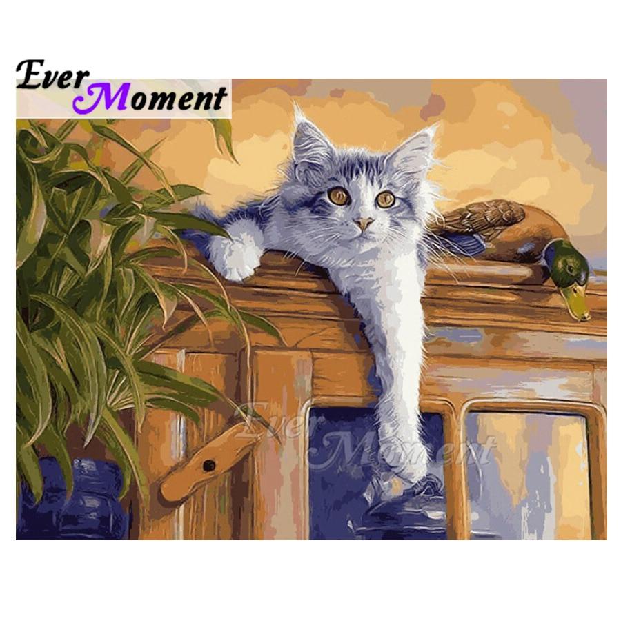 Ever instant-لوحة ماسية على شكل قطة ، صناعة يدوية ، صورة حجر الراين ، خرز مربع كامل ، فسيفساء تطريز ، ASF1799
