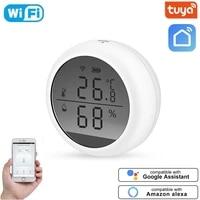 Tuya     capteurs WIFI de temperature et dhumidite  hygrometre dinterieur  thermometres avec ecran LCD  pour maison intelligente  Alexa Google Assistant