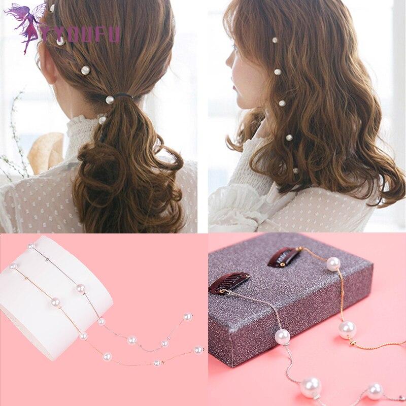 YYOUFU, bonita cuerda para el cabello de niña, flor de cerezo, horquilla de perlas de imitación, accesorios para el cabello, adecuados para mujeres adultas blancas
