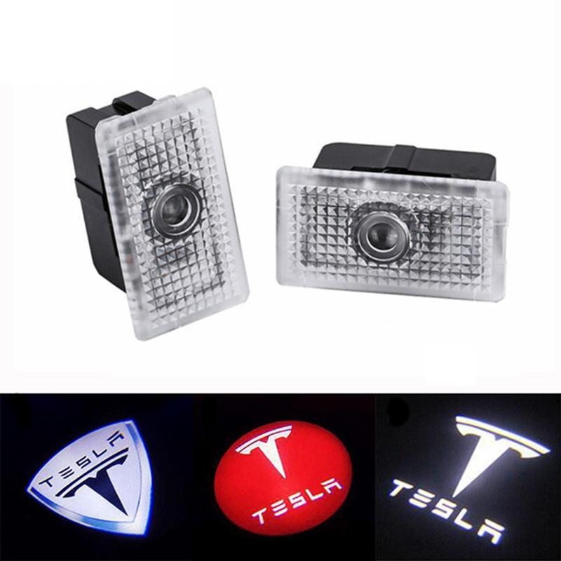 2 pçs 3d led porta do carro bem vindo projetor laser logotipo fantasma sombra luzes para tesla modelo s modelo x modelo 3 modelo y