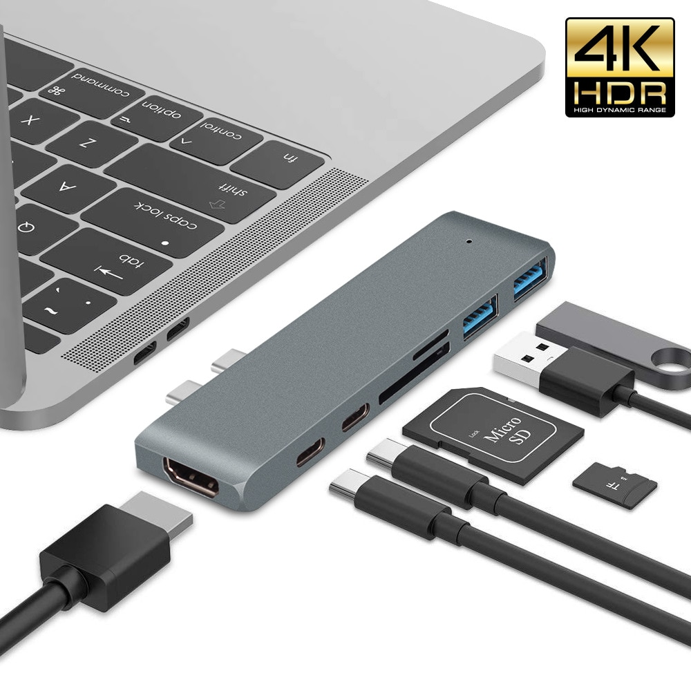 USB C محور ، USB-C الثنائي 7-في-2 ل ماك بوك برو الهواء ، المغناطيسي قبضة HDMI 4K60Hz HDR 100W PD 40 جيجابايت في الثانية USB 3.1 مايكرو SD/SD بطاقة قارئ