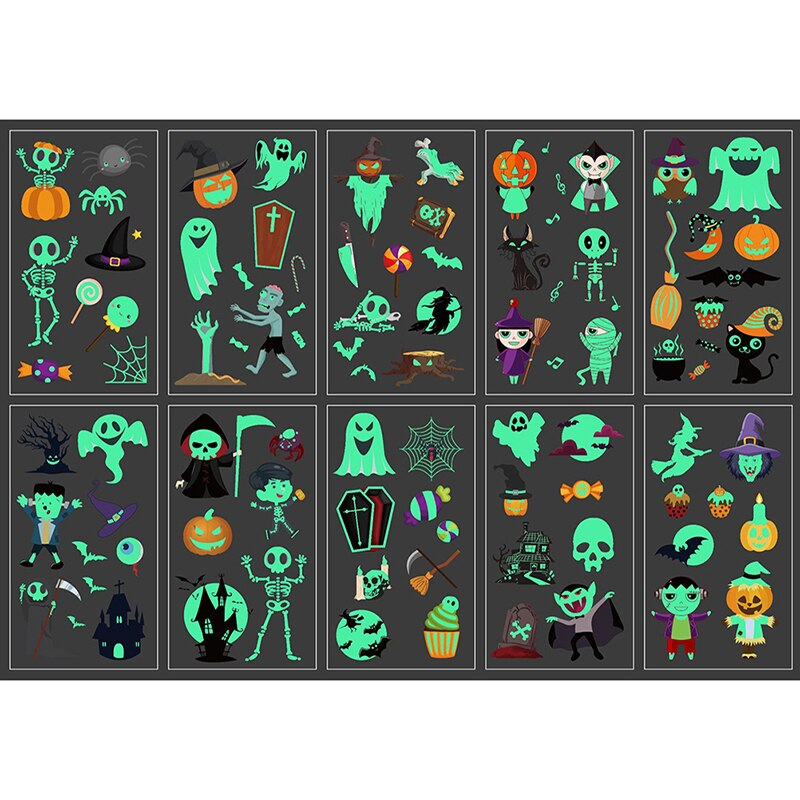 10 hojas, tatuaje luminoso de Halloween, tatuaje falso, tatuaje brillante de bruja, pegatinas